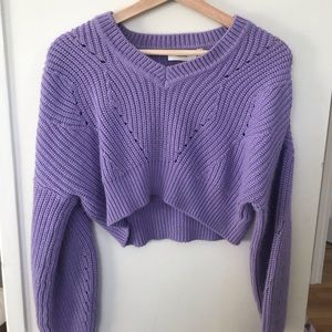 CLOTH. cropped purple sweater